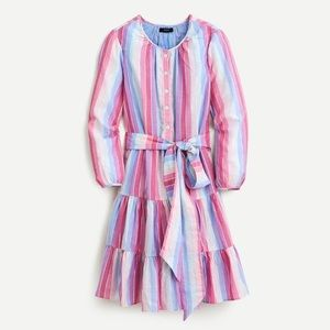 NWT JCREW BELTED BUTTON UP DRESS IN PASTEL STRIPES